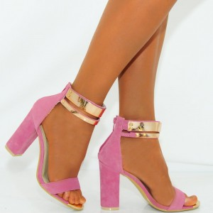 Women's Pink Metal Ankle Strap Sandals Chunky Heels