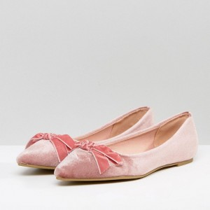 Women's Pink Pointy Toe Comfortable Flats With Bow