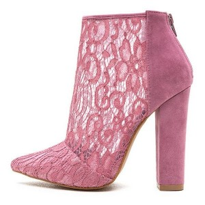 Pink Pointy Toe Lace Summer Boots Chunky Heel Ankle Booties