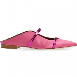 Women's Pink Satin Mule Pointed Toe Flats