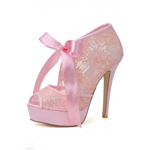 Women's Pink Wedding Shoes Lace Peep Toe Heels Pumps Embroidery shoes