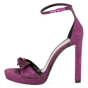 Women's Purple Glitter Shoes Ankle Strap Stiletto Heel Sandals