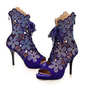 Women's Purple Rhinestone Lace Up Peep Toe Stiletto Heels Sandals