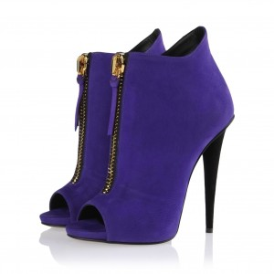 Women's Purple Toe Stiletto Heel Ankle Booties with Zipper