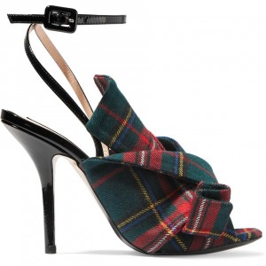 Red and Green Plaid Stiletto Heels Slingback Ankle Strap Sandals