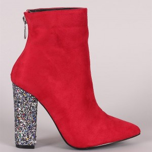Women's Red Ankle Booties Suede Pointed Toe Glitter Chunky Heel Boots