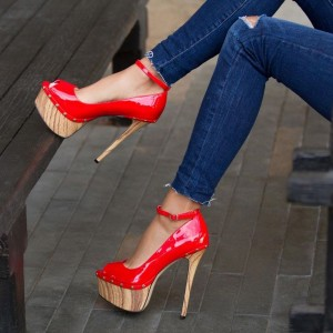 Women's Red Ankle Strap Heels Patent Leather Platform Stiletto Pumps