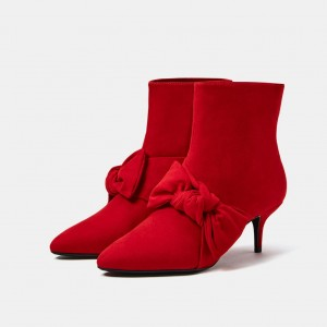 Red Kitten Heel Boots Pointy Toe Suede Bow Ankle Booties