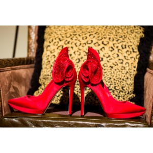 Women's Red Bridal Heels Rhinestone Pointy Toe Stiletto Heels Pumps