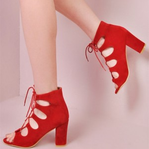 Women's Red Chunky Heels Open Toe Hollow out Ankle Sandals