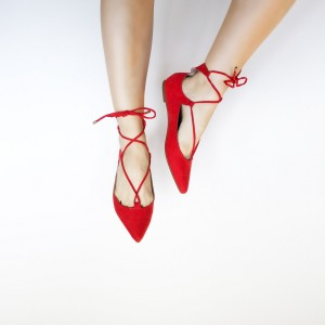 Women's Red Dress Shoes Pointed Toe Ballet Strappy Comfortable Flats