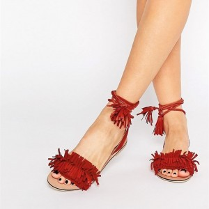 Women's Red Fringe Sandals Tassels Strappy Heels Comfortable Flats