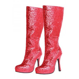 Red Glitter Wide Calf Boots Platform Fashion Boots