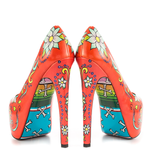 Women's Funny Red Platform Floral Heels Almond Toe Cone Heels Pumps