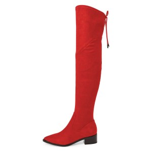 Women's Red Suede Chunky Heel Boots Pointy Toe Thigh-high Boots
