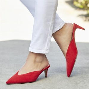 Women's Red Suede Pointy Toe Kitten Heels Mules