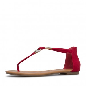 Red Suede Thong Sandals Flat Summer Sandals US Size 3-15