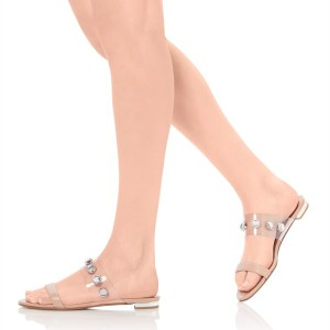 Women's Rhinestones Flats Blush Open Toe Mule Clear Shoes