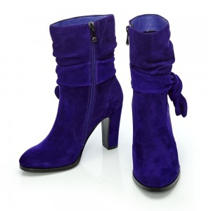 Purple Fashion Boots Suede Chunky Heel Mid Calf Boots