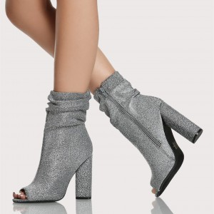 Women's Silver Chunky Heel Boots Peep Toe Ankle Booties