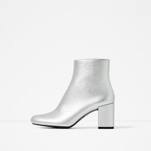 Women's Silver Chunky Heels Ankle Fashion Boots Comfortable Shoes