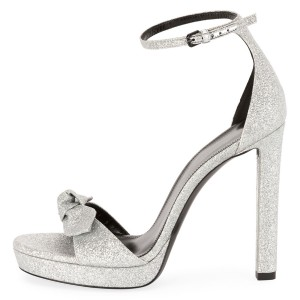 Women's Silver Glitter Shoes Ankle Strap Stiletto Heel Sandals