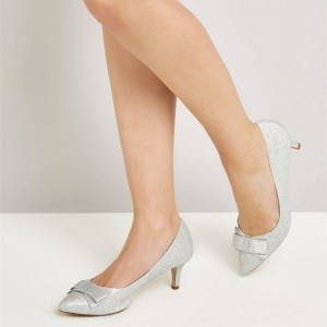 Women's Silver Kitten Heels Almond Toe Pumps with Bow