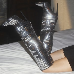 Women's Silver Mirror Stiletto Heels Knee Boots