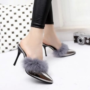 Grey Furry Heels Pointy Toe Mirror Leather Stiletto Heel Mules