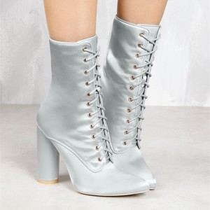 Women's Silver Satin Chunky Heel Boots Lace Up Short Ankle Booties
