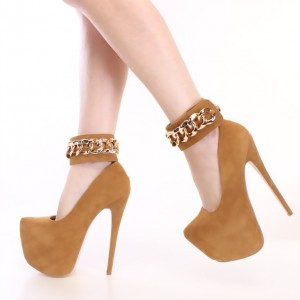 Women's Tan Almond Toe Suede Platform Stiletto Heels Ankle Strap Pumps