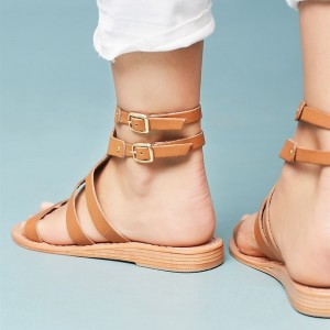 Women's Tan Buckles Flat Slingback Gladiator Sandals