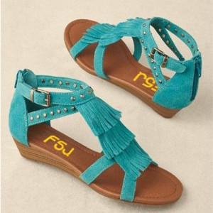Women's Turquoise Comfortable Flats School Shoes Fringe Sandals