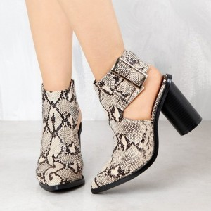Women's White And Black Chunky Heels Pointy Toe Slingback Ankle Boots