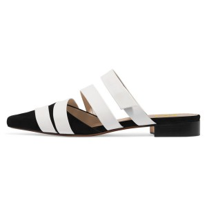 Women's White and Black Comfortable Flats Strappy Mule Sandals