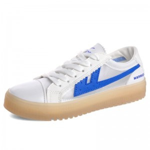 Women's White and Blue Lace up Hui Li Sneakers