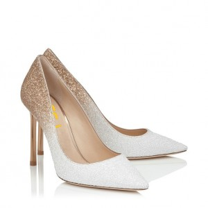 Women's White N Golden Wedding Shoes Pointed Toe Stiletto Heels Pumps