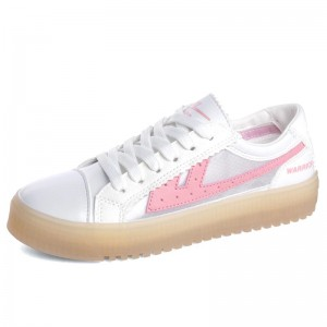 Women's White and Pink Lace up Hui Li Sneakers
