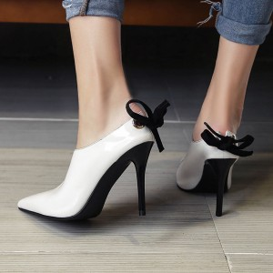 Women's White Back Lace up Pointy Toe Stiletto Heels Mules