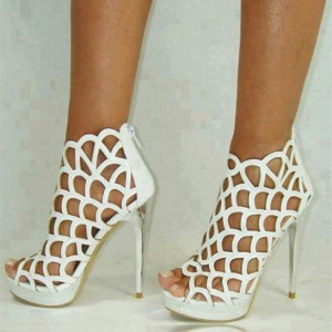 Women's White Cage Hollow Out Stiletto Heels Wedding  Sandals