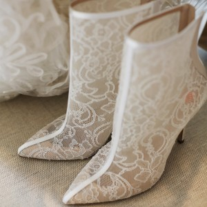 Women's White Clear Lace Floral Pointed Toe Stiletto Heels Ankle Booties