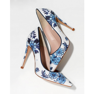 Women's White Floral Heels Pointed Toe Stiletto Heels Pumps