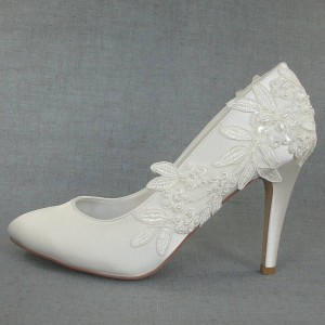 Women's White Floral Lace Almond Toe Stiletto Heels Wedding Shoes