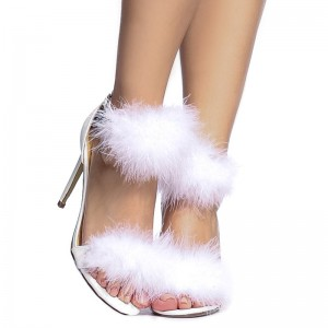 White Furry Heels Ankle Strap Open Toe Stiletto Heel Sandals