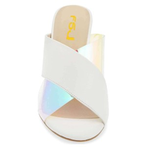 Women's White Mule Hologram Chunky Heel Cross Strap Sandals