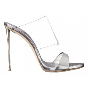 Women's White Open Toe Stiletto Heels Clear Mule Sandals