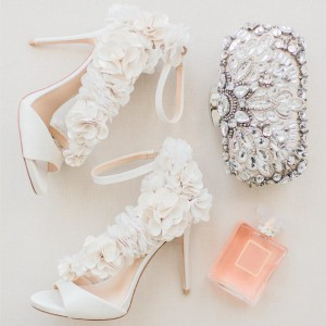 Ivory Wedding Shoes Satin Flowers Peep Toe Ankle Strap Sandals