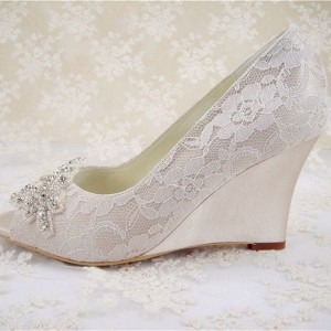 Women's White Peep Toe Wedding Shoes Rhinestone Lace Wedge Heels Pumps