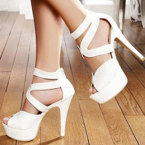 Women's White Peep Toe Stiletto Heels Platform Ankle Strap Sandals