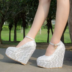Women's White Platform Lace Wedding Shoes Wedge Heel Ankle Strap Pumps